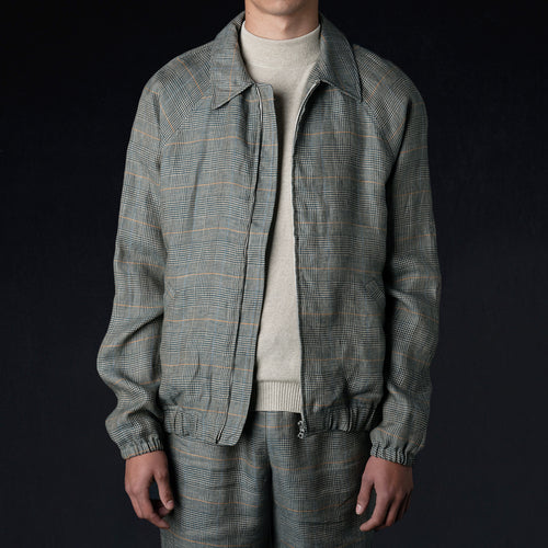Washed Linen Golf Jacket in Green Glen Check