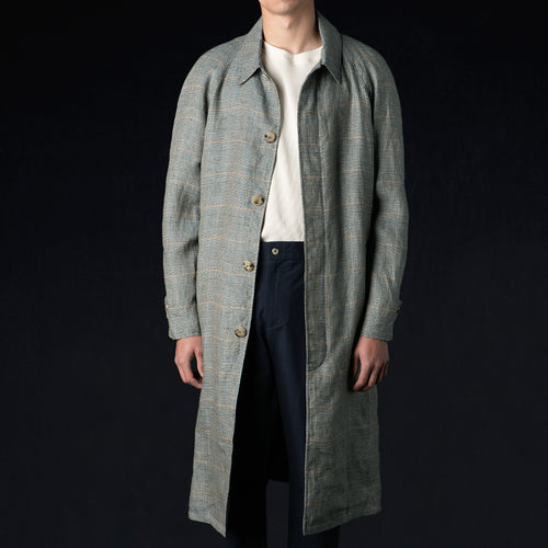 Washed Linen Long Mac in Green Glen Check