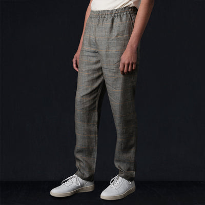 De Bonne Facture - Washed Linen Easy Trouser in Green Glen Check