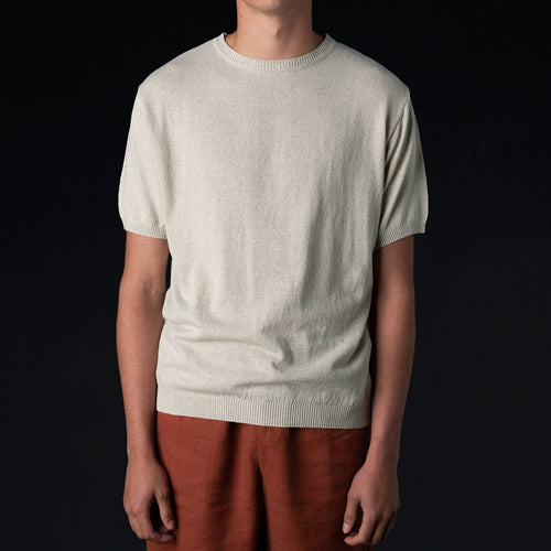 Organic Yarn Knitted Jersey Tee in Undyed Natural