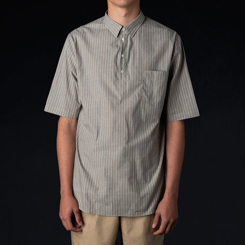 Washed Japanese Voile Short Sleeve Popover Shirt in Grey Pyjama Stripe