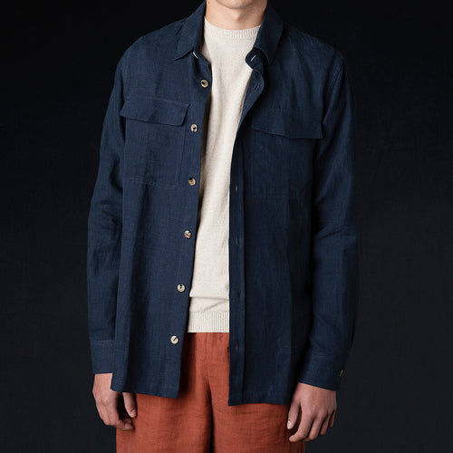 Brushed Linen Explorer Jacket in Navy