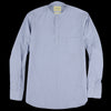 De Bonne Facture - Washed Japanese Voile Grandad Collar Popover in Blue Pyjama Stripe