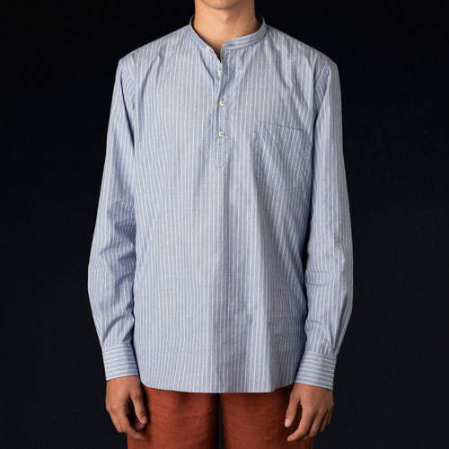 Washed Japanese Voile Grandad Collar Popover in Blue Pyjama Stripe