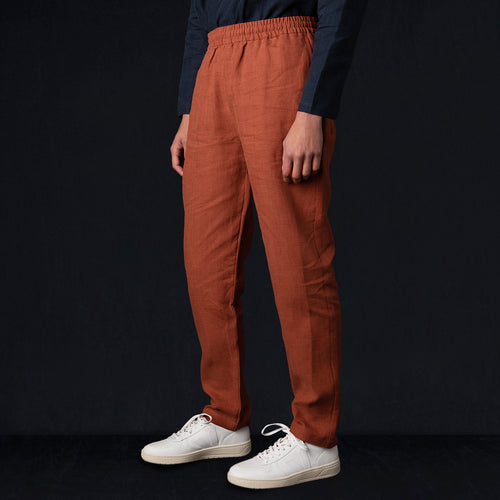 Brushed Linen Easy Trouser in Clay Red
