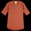 De Bonne Facture - Brushed Linen Tunisian Popover Shirt in Clay Red