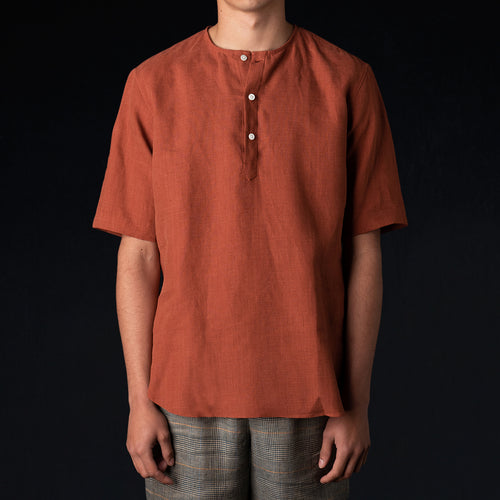 Brushed Linen Tunisian Popover Shirt in Clay Red