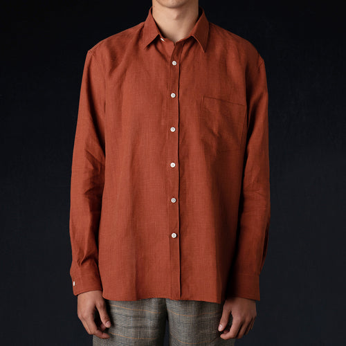 Brushed Linen Oversized Shirt in Clay Red