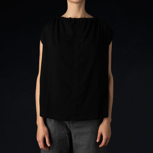 Chiffon Cinch Top in Sheer Black