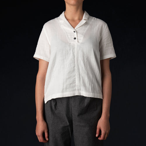 Notch Collar Shirt in White
