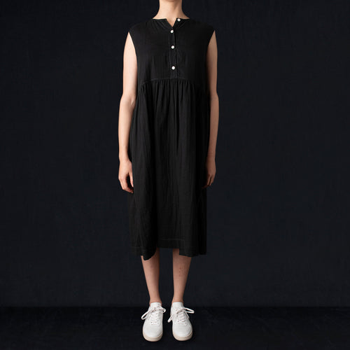 Sleeveless Button Dress in Black