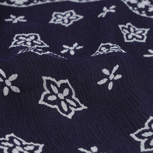 Silk Crepe Paisley Scarf in Purple