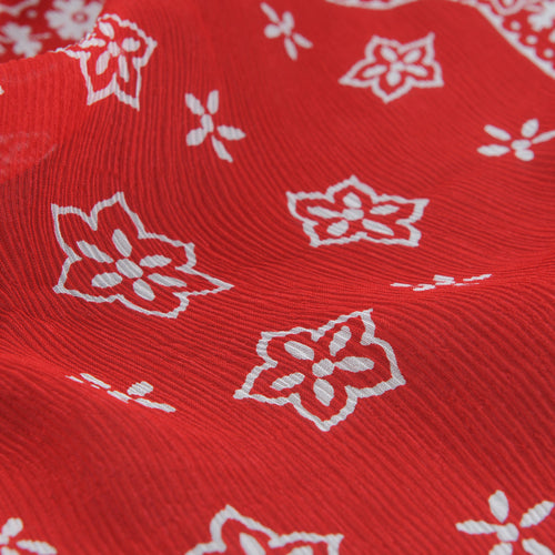 Silk Crepe Paisley Scarf in Red