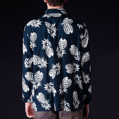 Needles - Rayon Sateen Pineapple One-Up Cowboy Shirt in Navy