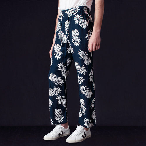 Rayon Sateen Pineapple String Cowboy Pant in Navy