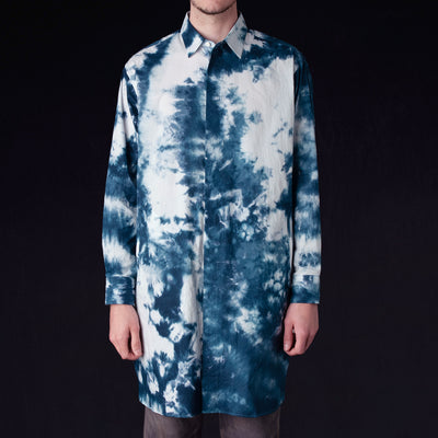 Needles - Uneven Dye Cotton Long Fly-Front Shirt in White & Navy
