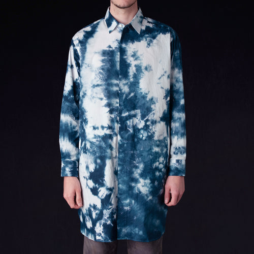 Needles - Uneven Dye Cotton Long Fly-Front Shirt