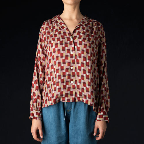 Sateen Gathered Blouse in Bordeaux
