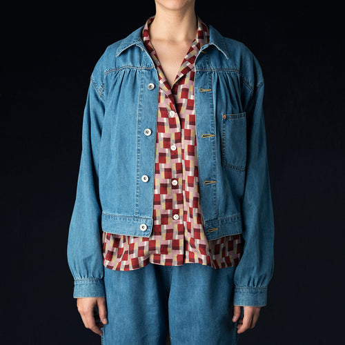 7oz Denim Gathered Jean Jacket in Indigo