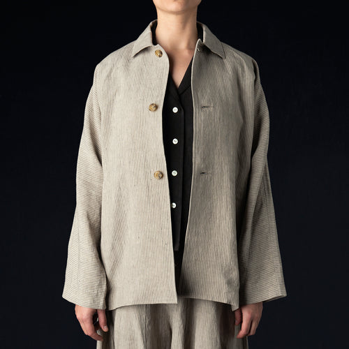 Linen D/S Jacket in Stripe