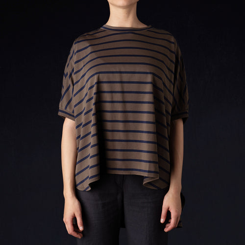 Stripe S/S Oversized Tee in Khaki
