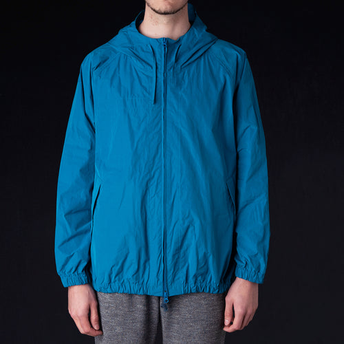 Water Repellent Raglan Sleeve Zip Front Parka in Blue