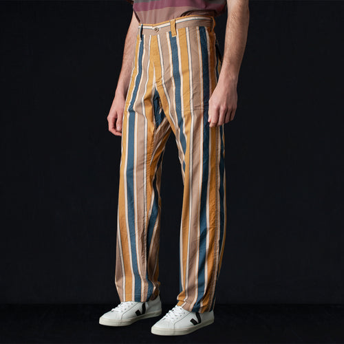 Multi Stripe Cotton Nylon Fatigue Pant in Brown