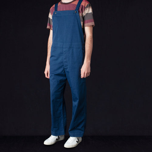 Garment Dye Textile Print Old Style Bib Overall in Blue
