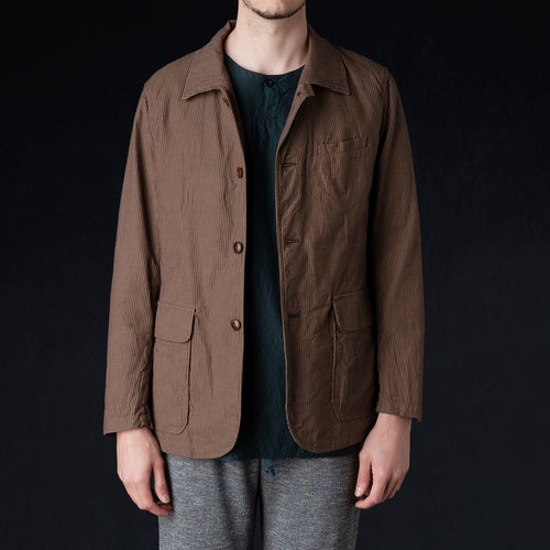 Cordlane Shirt Collar Jacket in Brown