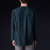 ts(s) - Cotton Silk Micro Faille Henley Neck Shirt in Navy