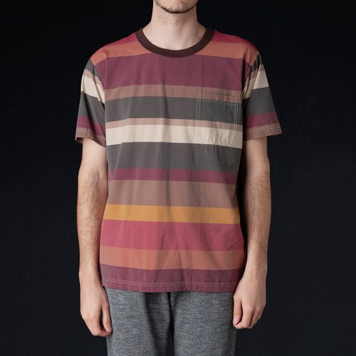 Multicolor Irregular Stripe Big Tee in Wine
