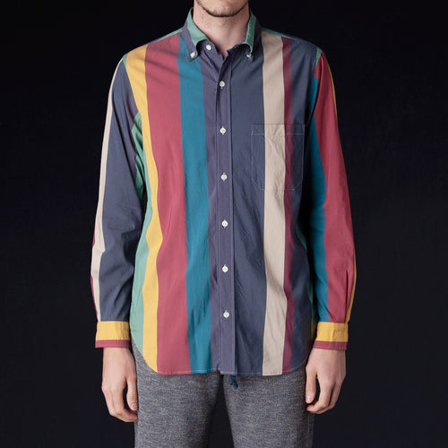 Multicolor Irregular Stripe B.D. Shirt in Navy