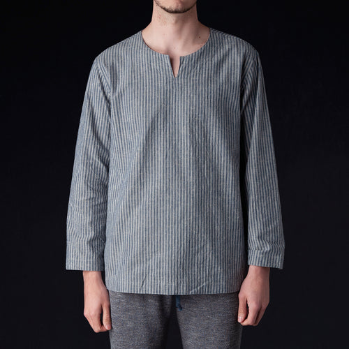 Stripe Cotton Linen Nep Slit Shirt in Blue