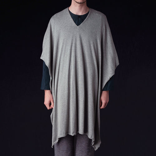 Lightweight Knit Poncho Stole in Grey