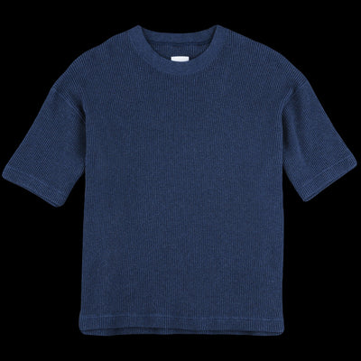 ts(s) - Heather Waffle Jersey Big Crew Neck Tee in Navy