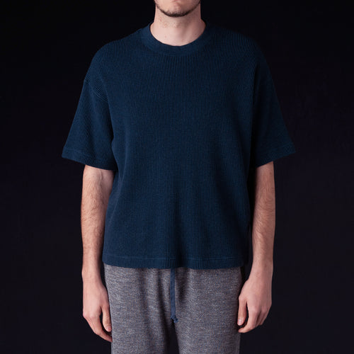Heather Waffle Jersey Big Crew Neck Tee in Navy