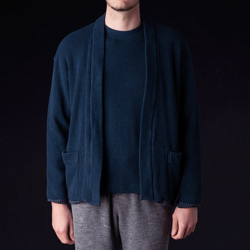 Heather Waffle Jersey Lined Easy Cardigan in Navy