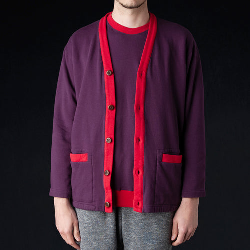 Terry Color Block Loose Fit Cardigan in Purple & Red