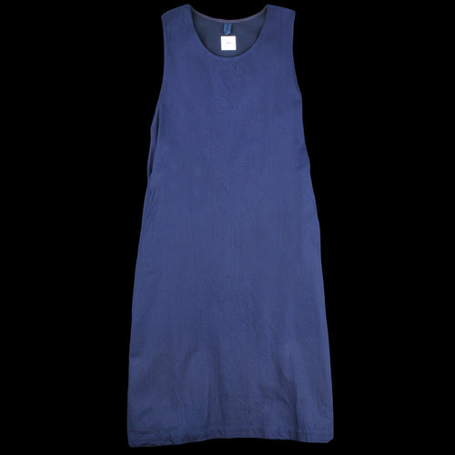 Light Oz Herringbone Denim Foldable Apron Dress in Navy