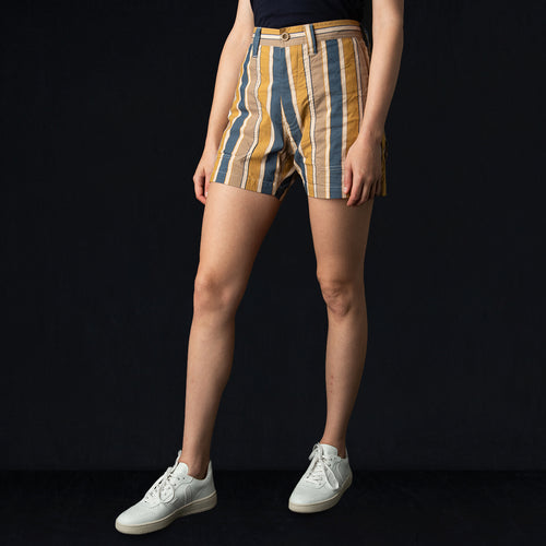 Multi Stripe Cotton Nylon Fatigue Midi Short in Brown