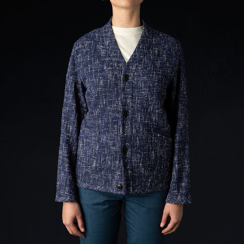 Summer Tweed Cardigan Jacket in Navy