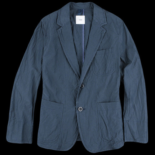 Cotton Silk Micro Faille Two Button Patch Pocket Piping Jacket in Navy