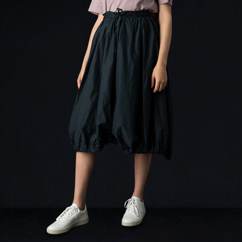 Cotton Silk Micro Faille String Balloon Skirt in Navy