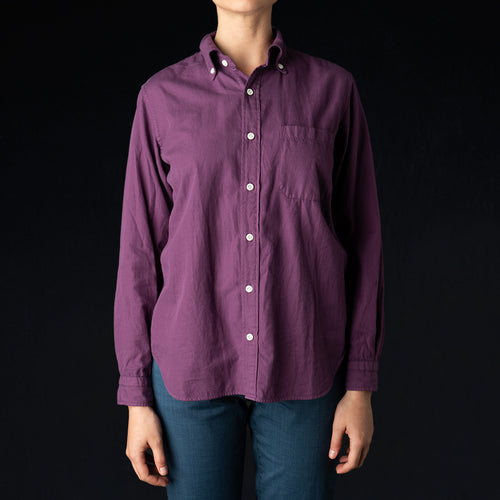 Garment Dye Brushed Cotton Twill B.D. Shirt in Purple
