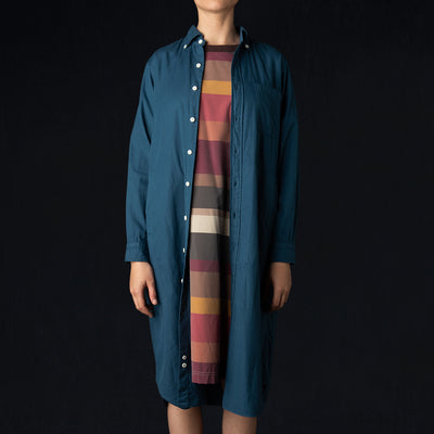 ts(s) - Garment Dye Brushed Cotton Twill B.D. Shirt Dress in Blue