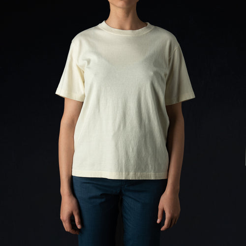 Vintage Style Jersey Crew Neck Tee in Natural
