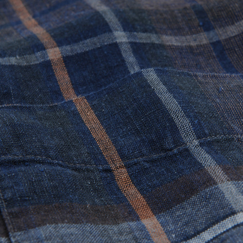 T-Shirt Linen Indigo Check in Blue & Brown