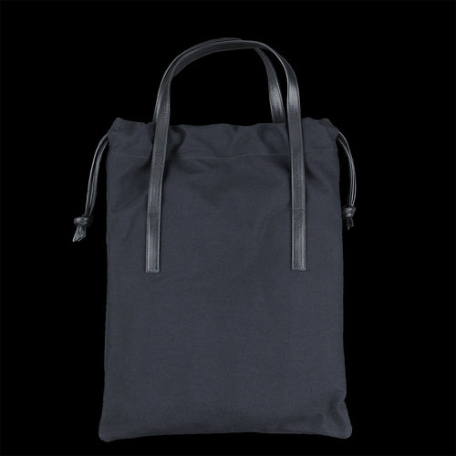 Flat Tote Bag in Black Technical Canvas