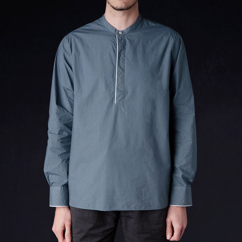 Pigment Dyed Piping Alfred Shirt in Smoked Pearl