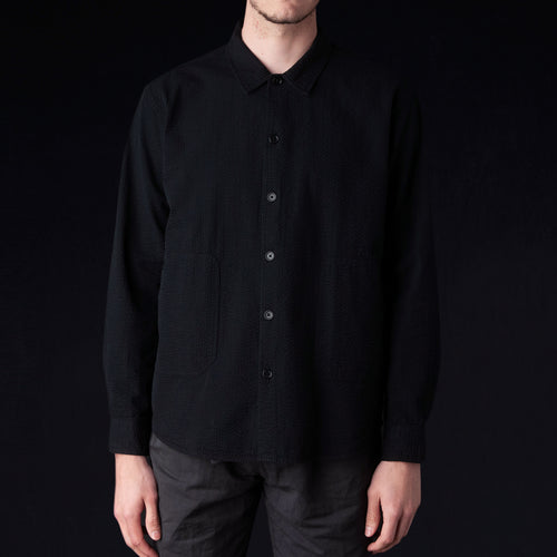 Seersucker Alan Overshirt in Black